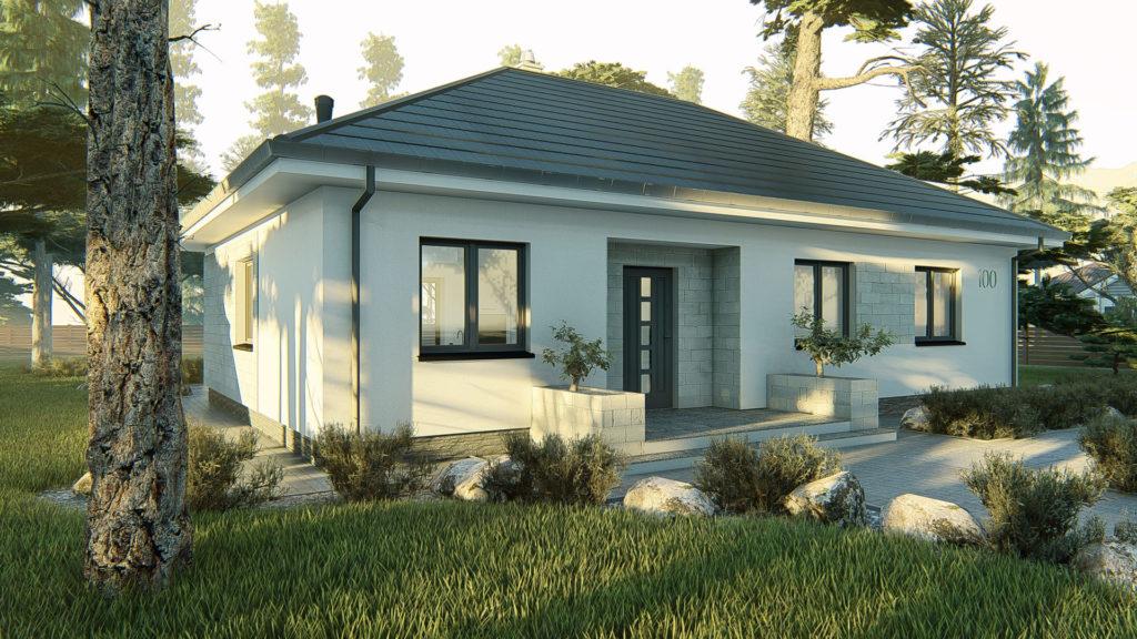 dom parterowy z dachem czterospadowym KP-100 1
