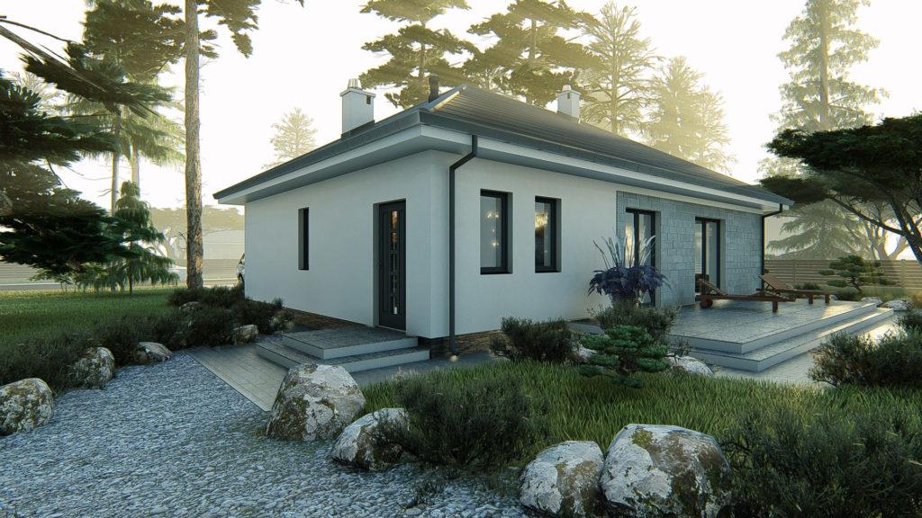 dom parterowy z dachem czterospadowym KP-100 5