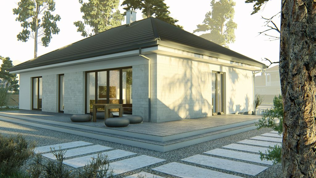 dom parterowy z dachem czterospadowym KP-120 (3)