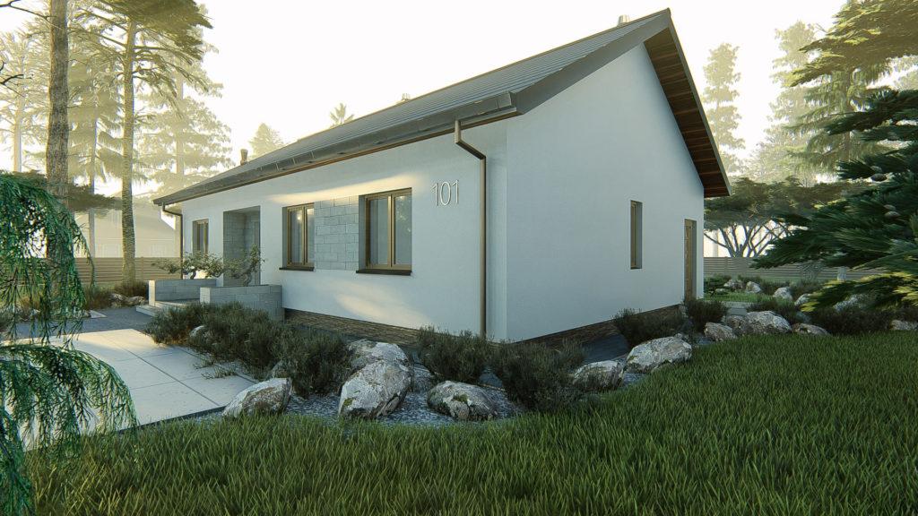 dom parterowy z dachem dwuspadowym KP-101 LUSTRO 3