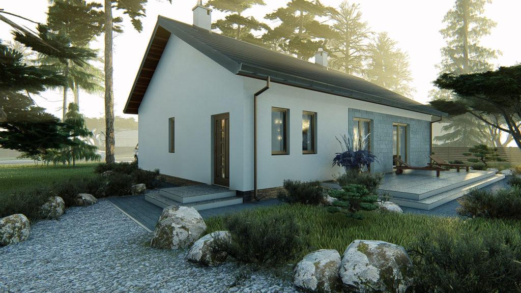 dom parterowy z dachem dwuspadowym KP-101 LUSTRO 5