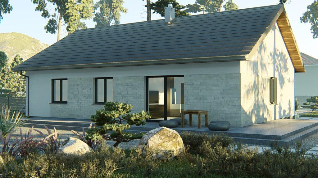dom parterowy z dachem dwuspadowym KP-121 P (2)